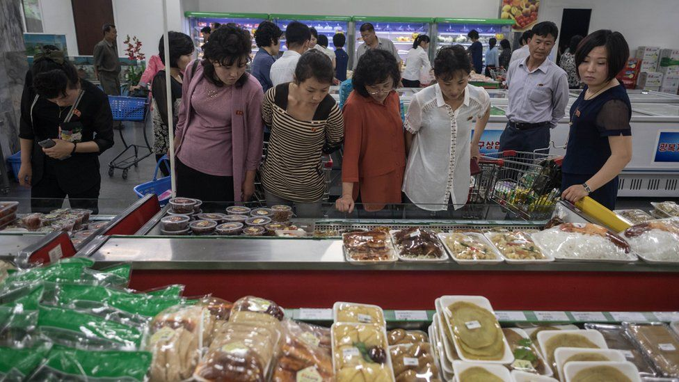 Shoppers in a North Korean Department store