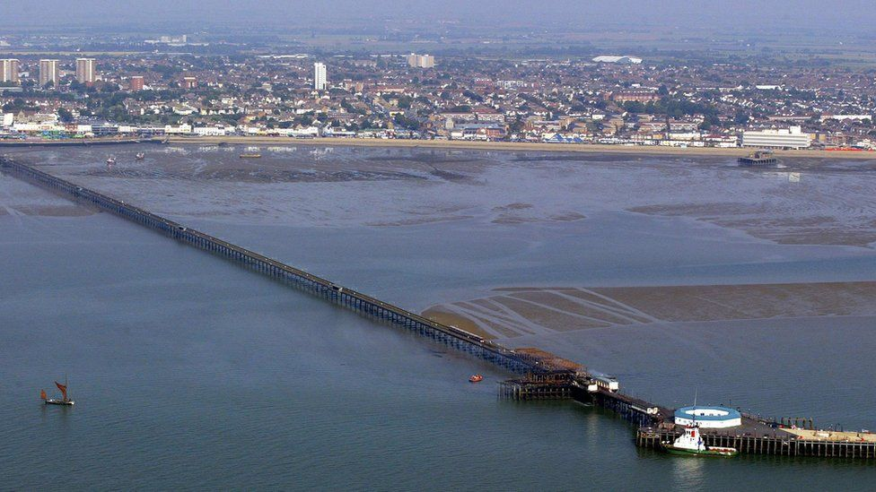 Ariel photo of Southend Pier after a fire in 2005.