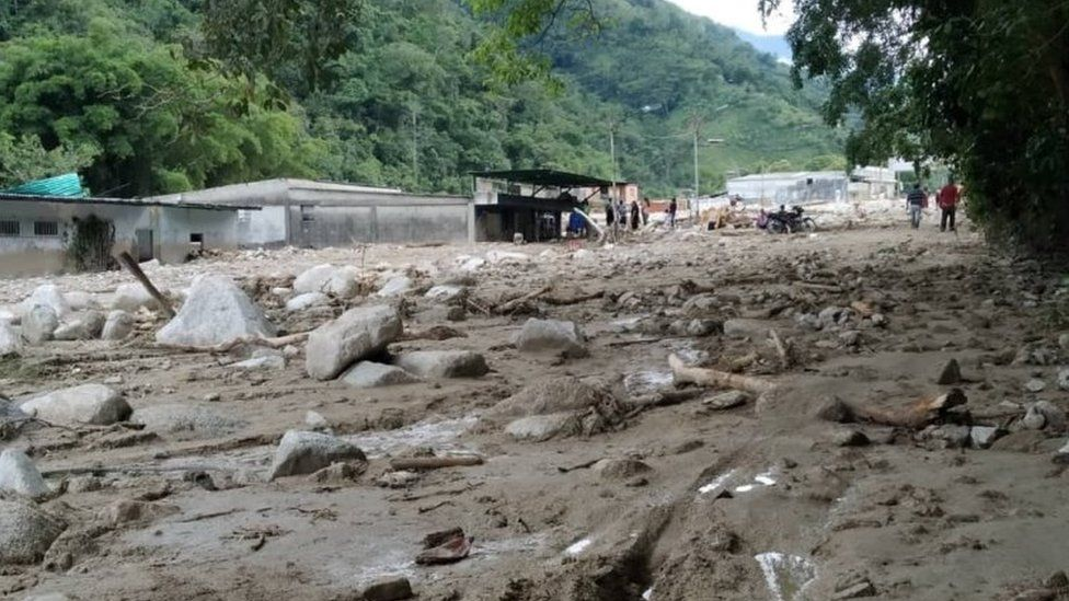 A view of an area covered in mud and rocks following flash flooding in Tovar, Merida State, Venezuela August 25, 2021