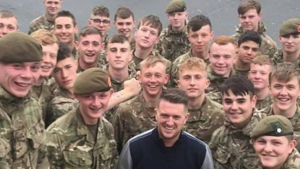 Photograph posted by Tommy Robinson on Facebook with soldiers
