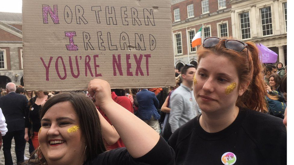 Repeal campaigners at Dublin Castle