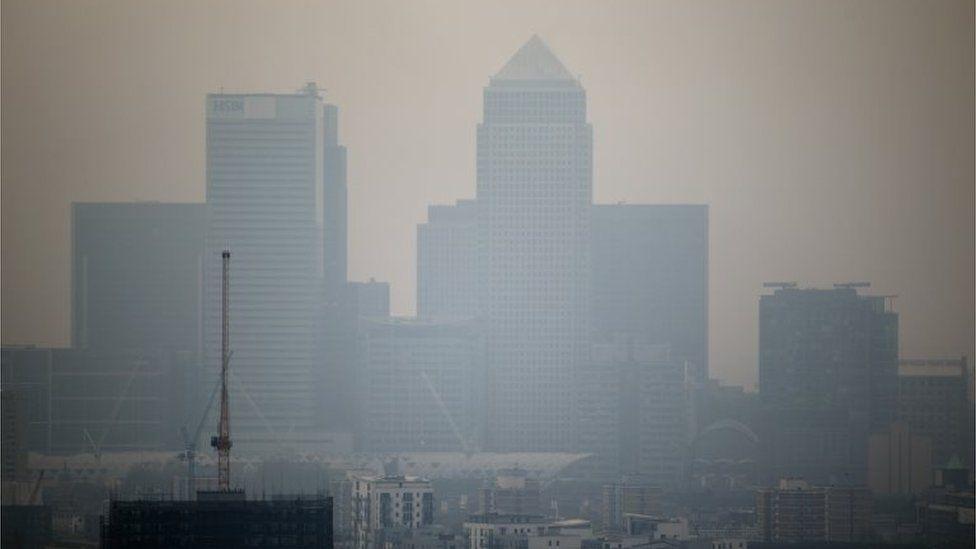 Smog over London skyline