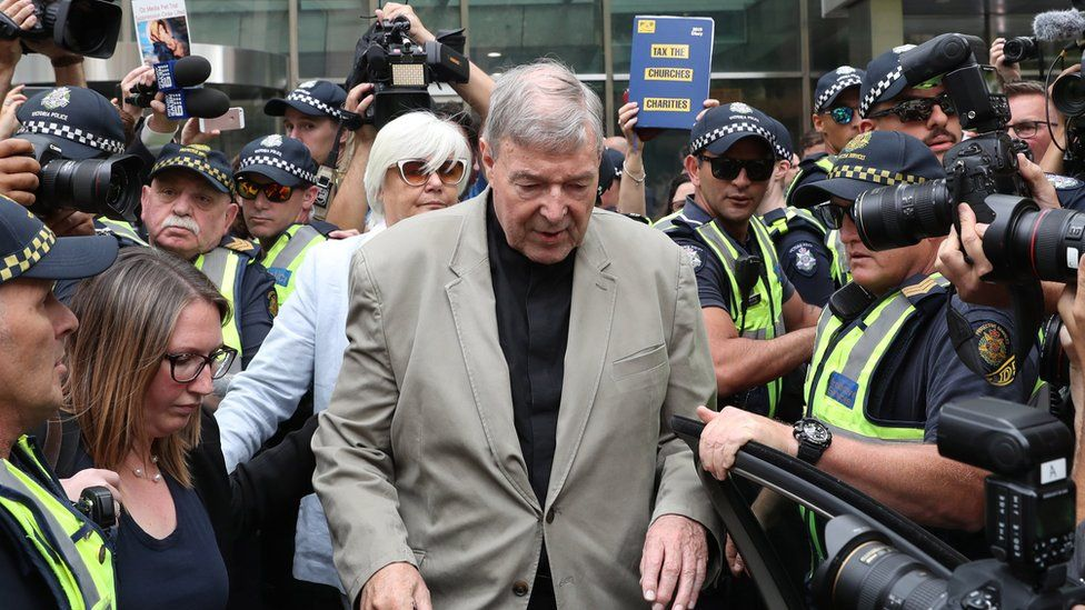 Cardinal Pell leaving a sentence hearing in Melbourne in February 2019