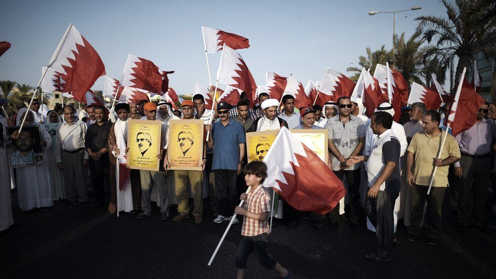 Opposition supporters demand the release of Ibrahim Sharif in Karranah, west of Manama, on 8 August 2014