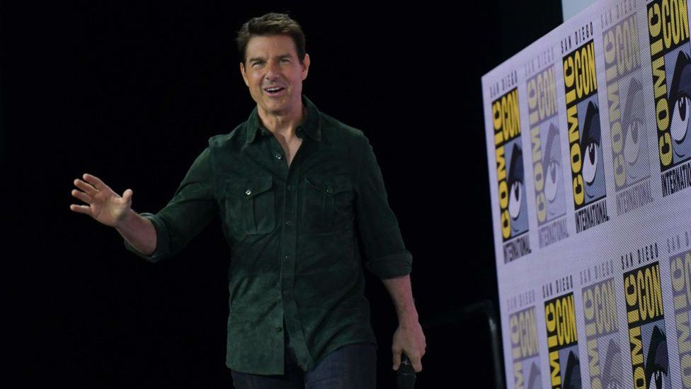 Actor Tom Cruise made a surprise appearance to promote Top Gun: Maverick at Comic Con in San Diego in 2019