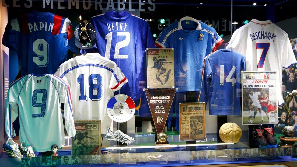 Vintage shirts displayed at the new museum dedicated to the French national football team at their national training centre of Clairefontaine near Paris.
