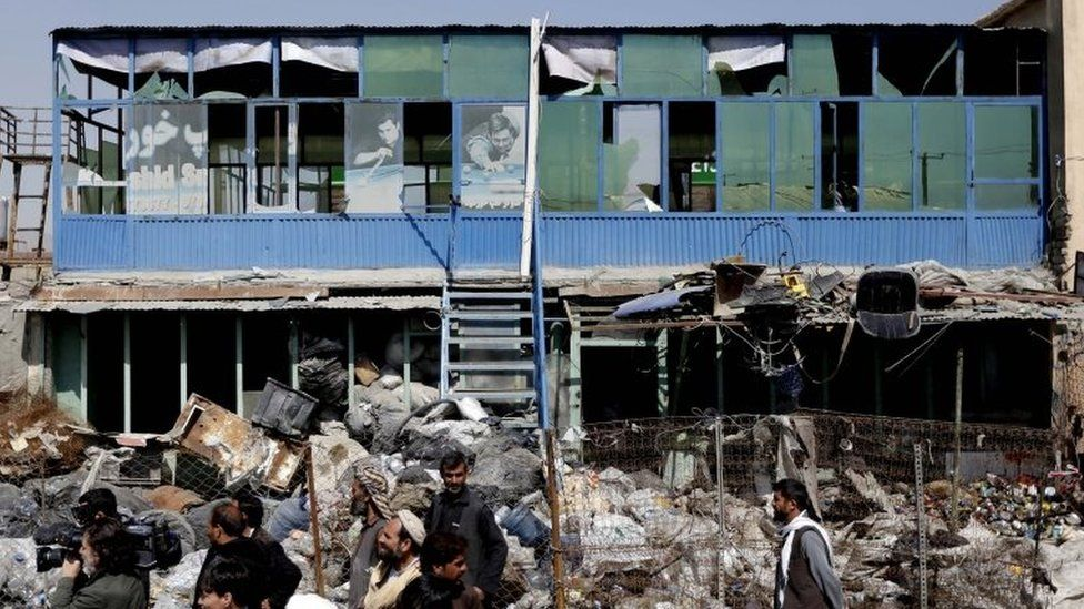 Residents gathered at site of suicide car bomb attack in Kabul