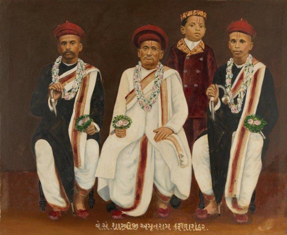 Group portrait of a Gujarati family