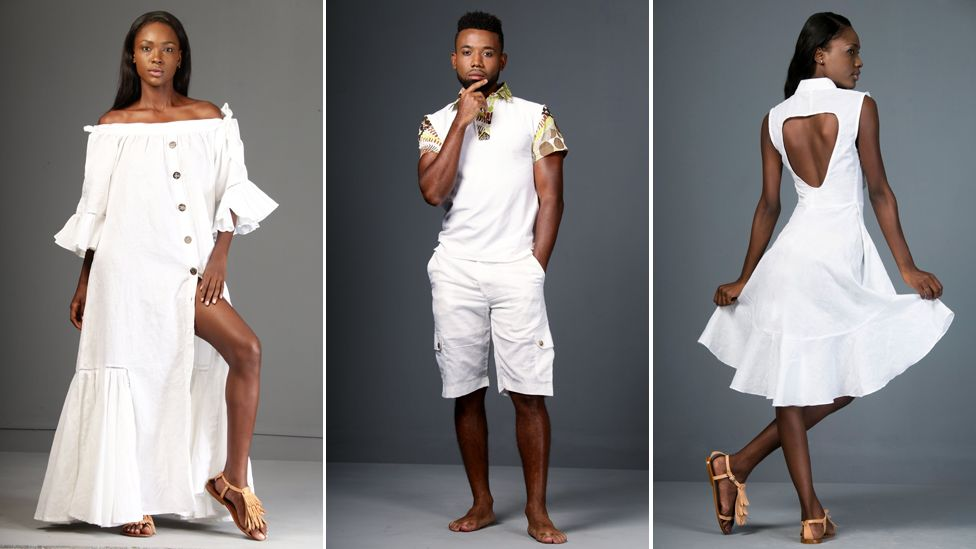Models show off clothes designed by David Andre