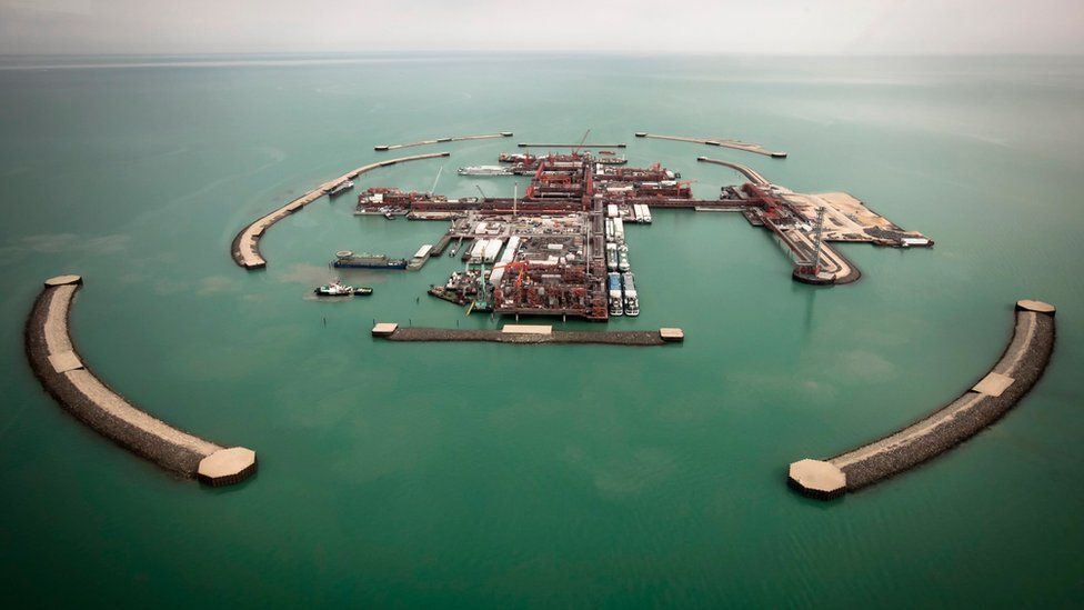 An aerial view shows artificial islands on Kashagan offshore oil field in the Caspian sea, western Kazakhstan, on the 7 April 2013