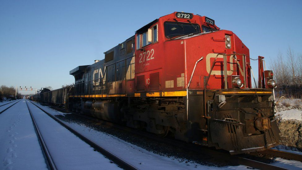 A Canadian National Railway (CN Rail) freight train