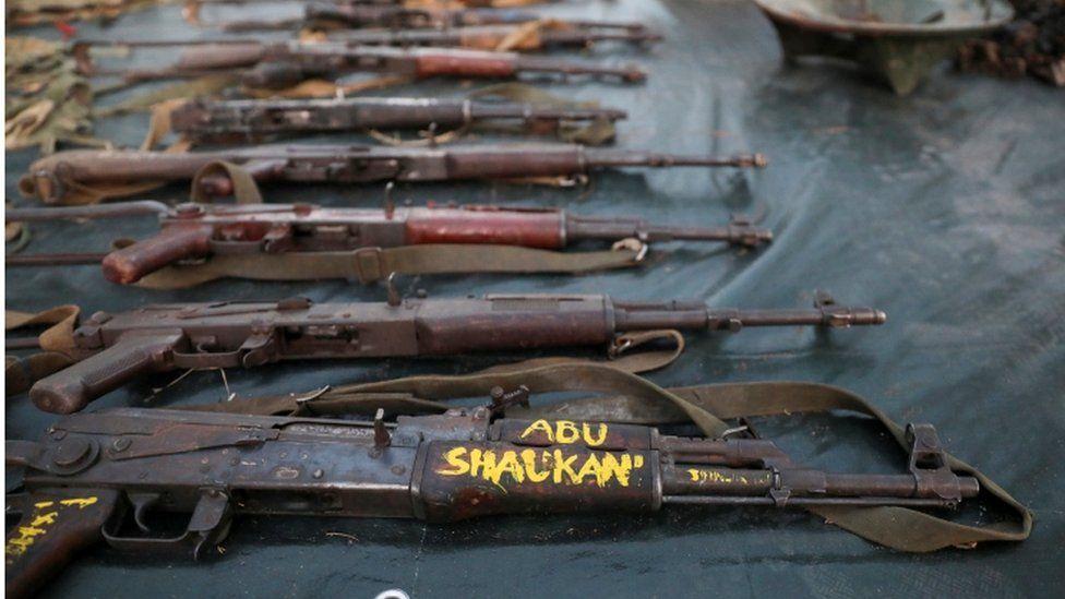 Weapons captured from militants, Mocímboa da Praia, Mozambique - 22 September 2021