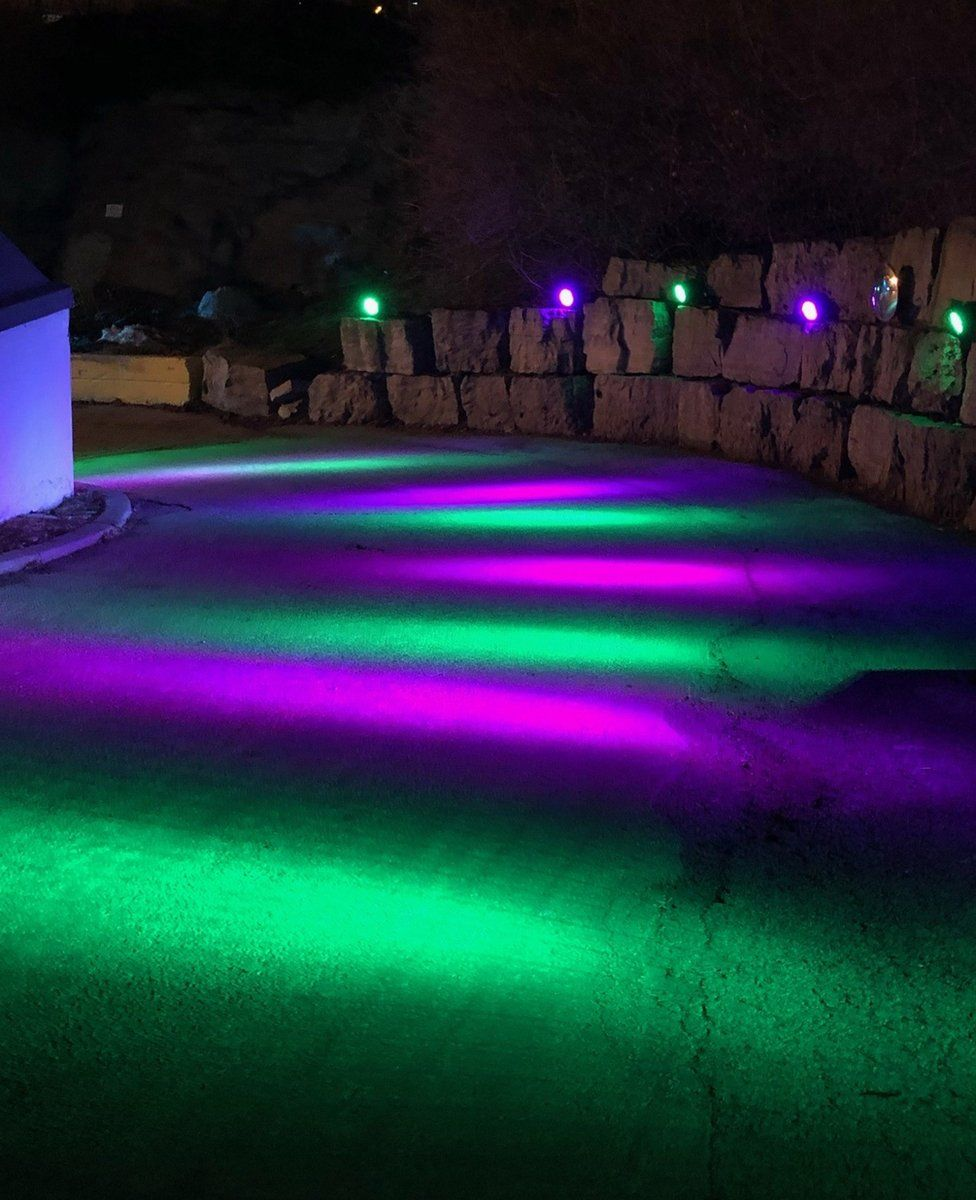 Colourful lights on a path