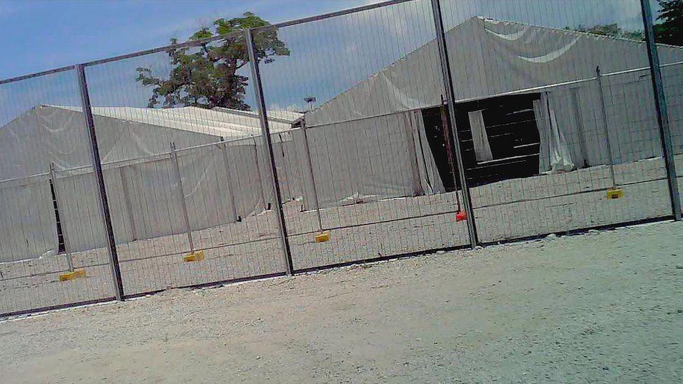 Tent accommodation at Australia's offshore detention centre on Nauru