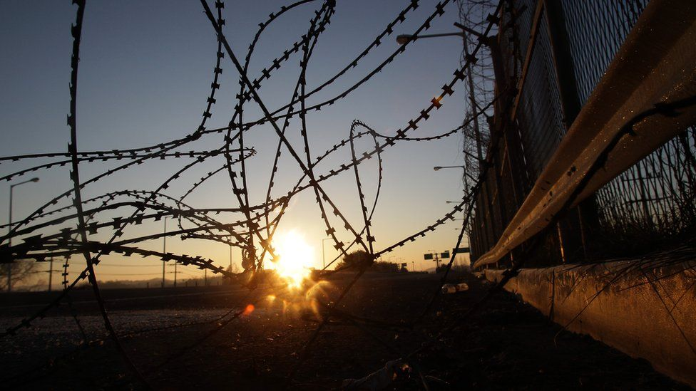 Barbed wire at the DMZ