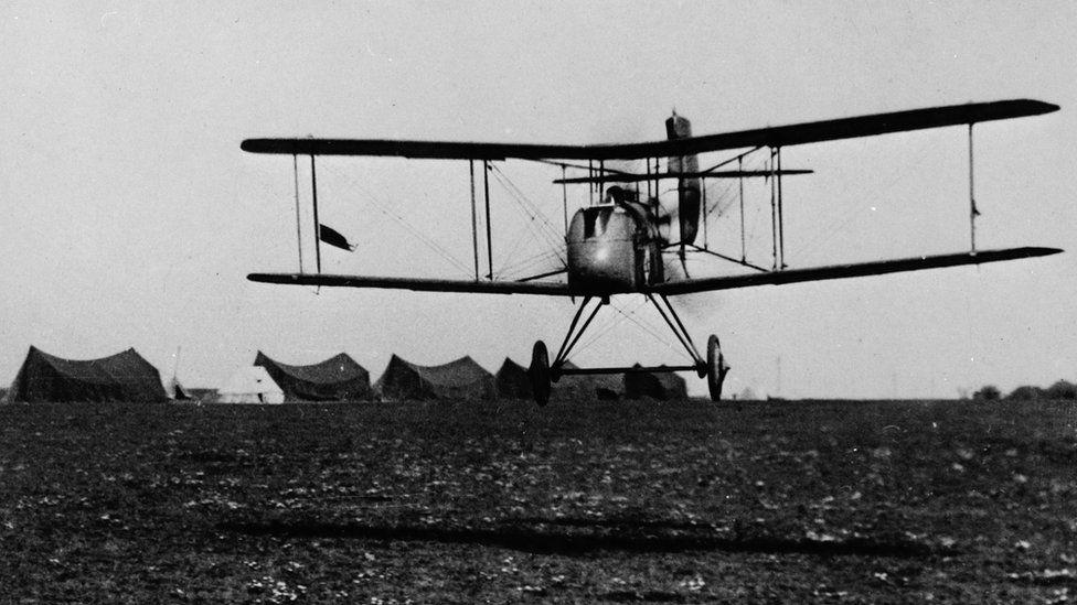 De Havilland D.H.2, 32 Squadron, making a low pass across an RFC airfield in France, 1916-1917