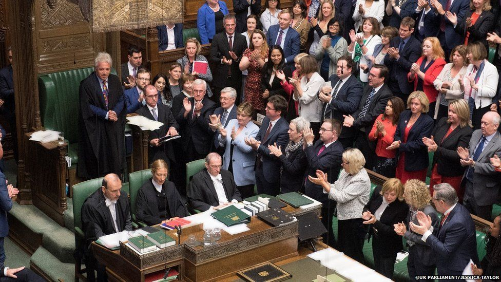 Mr Bercow received a standing ovation after his announcement, although not all Tories joined in