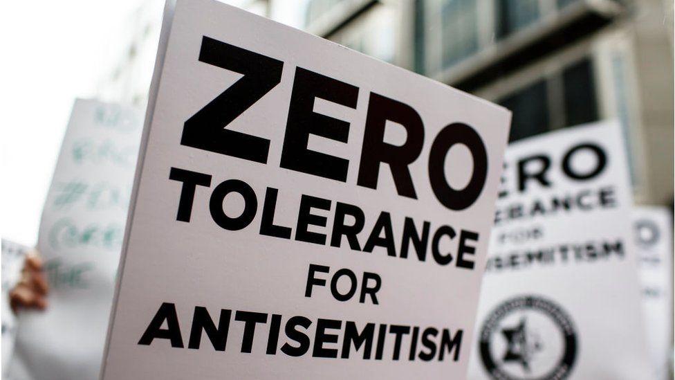 anti-Semitism placard