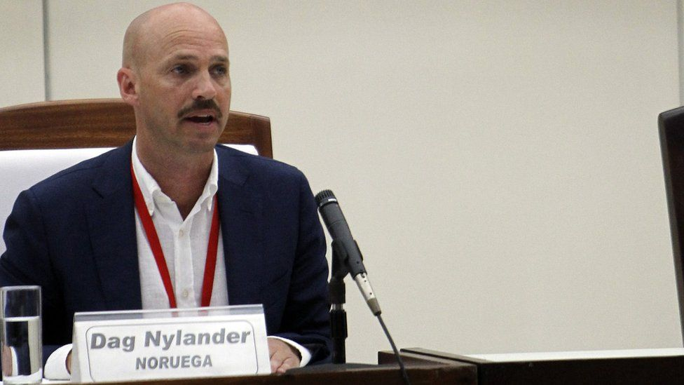 """Norwegian representative for Colombian Peace Negotiation Dag Nylander participates in a signing ceremony between Colombian Government and FARC guerrilla of disarmament and ceasefire agreement""""s protocols and attachments, at the Convention Center, in Havana, Cuba"""