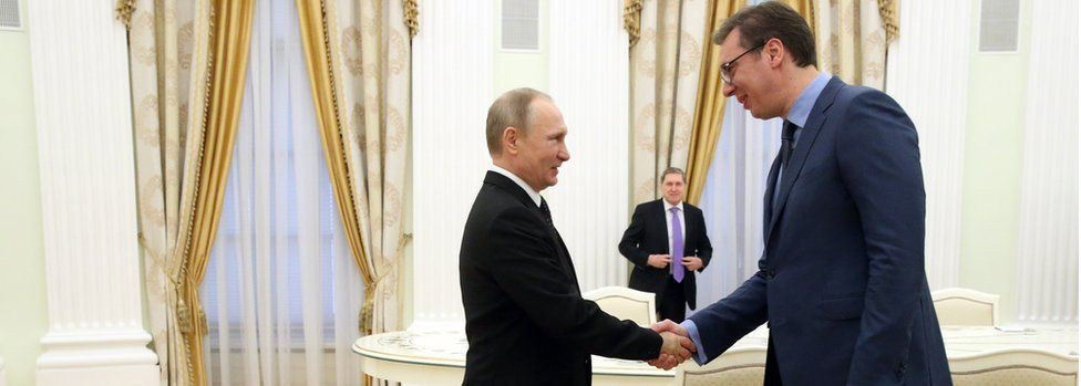 President Vladimir Putin (L) shakes hands with Serbian Prime Minister Aleksandar Vucic (R) during their meeting at the Kremlin on March 27, 2017 in Moscow