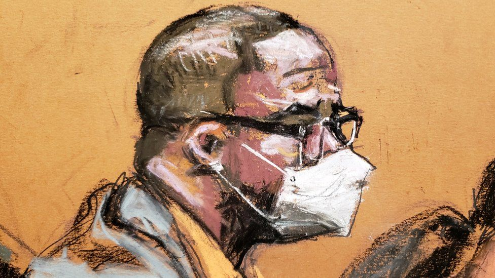 Singer R. Kelly listens during his sex abuse trial at Brooklyn's Federal District Court in New York, US, 20 August 2021