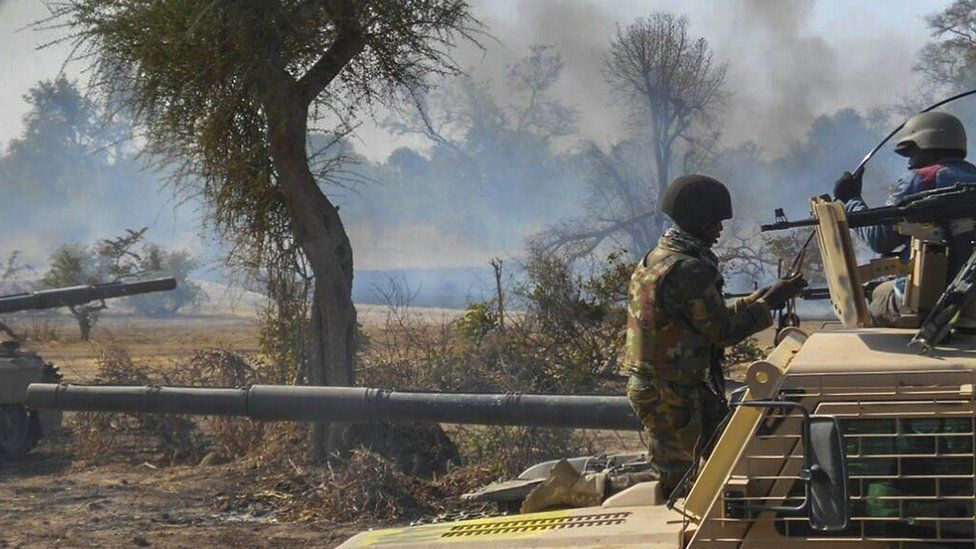 """Nigerian Army shows an insurgents"""" camp being destroyed by Nigerian military in the Sambisa Forest, Borno state, Nigeria"""