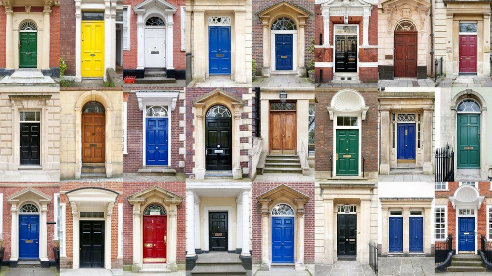 Thirty-two colourful front doors