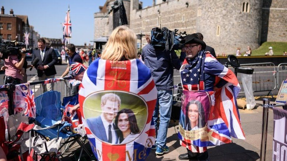 Royal fans relax after setting up their positions outside Windsor Castle