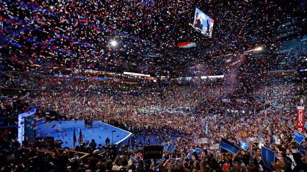 A fydf 'na olygfeydd fel hyn yn Philadelphia i groesawu Hillary Clinton fel ymgeisydd arlywyddol y Democratiaid?