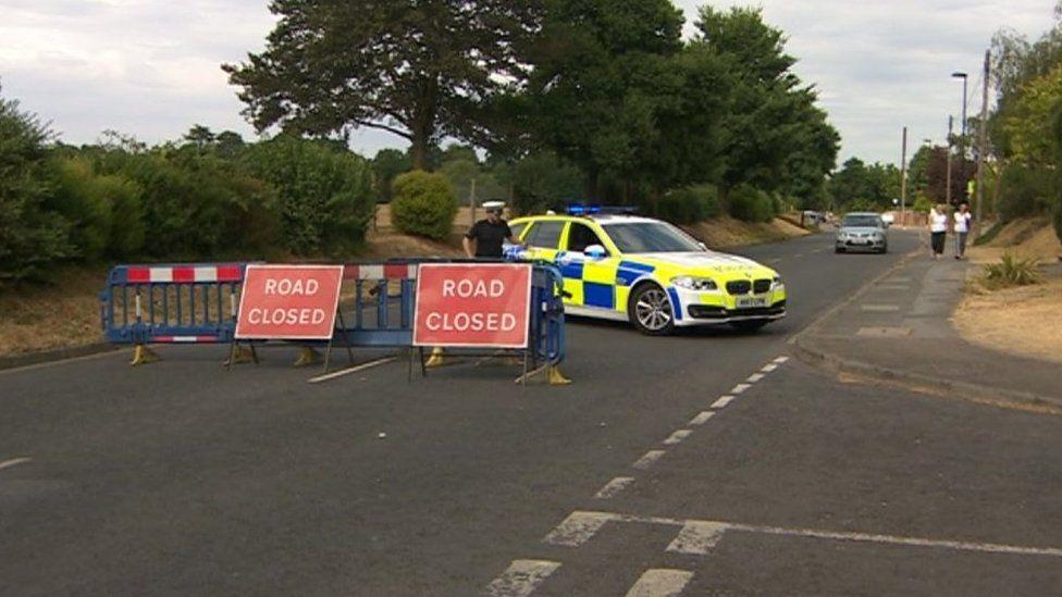 Police car and road closure in Weston Road