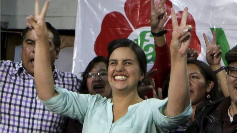 Peru's presidential candidate Veronika Mendoza gestures to supporters at her campaign headquarters at the end of the first round of Peru's presidential election in Cuzco, Peru, April 10, 2016