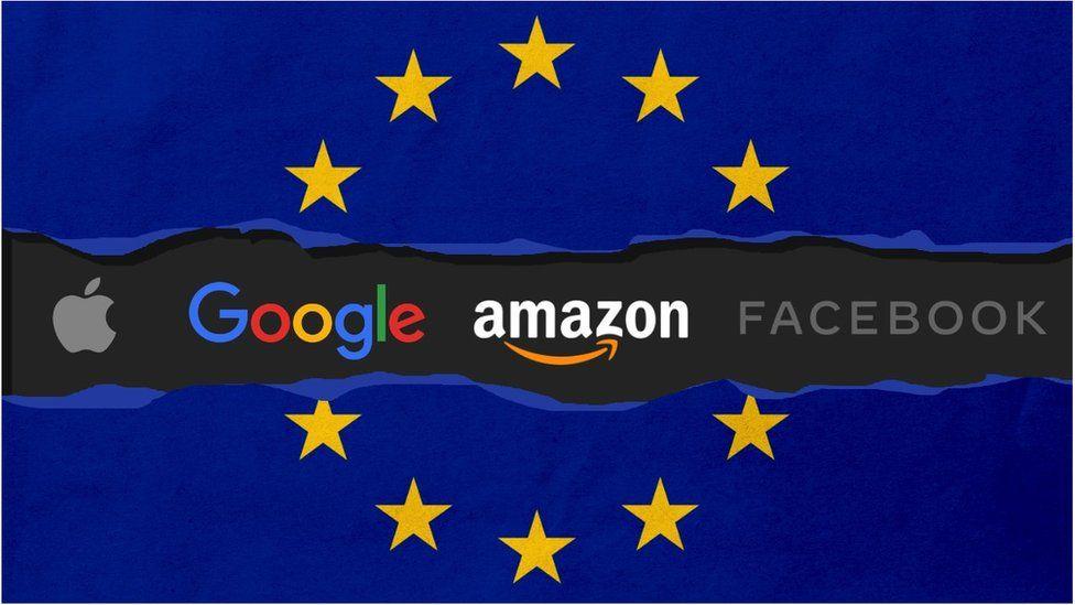 EU flag with big tech firms
