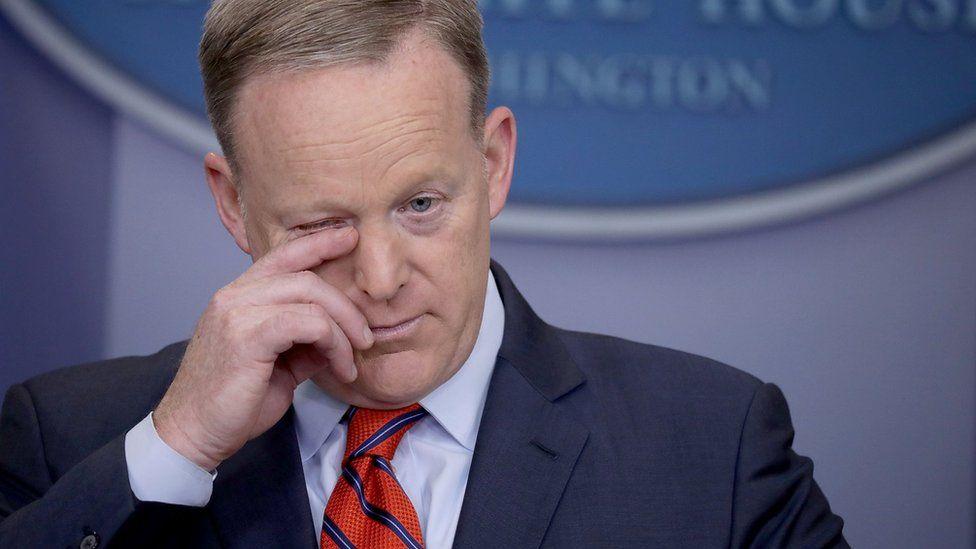 """White House Press Secretary Sean Spicer answers reporters"""" questions during the daily news conference in the Brady Press Briefing Room at the White House April 11, 2017 in Washington, DC"""