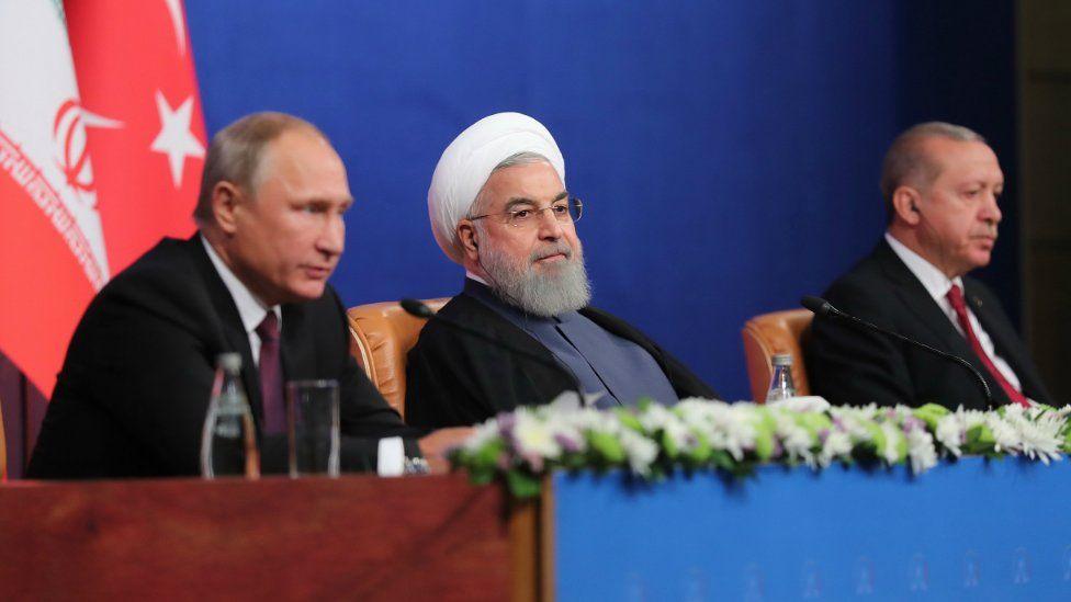 Iranian President Hassan Rouhani (C),Turkish President Recep Tayyip Erdogan (R), and Russian President Vladimir Putin (L) after their meeting in Tehran, Iran, 7 September 2018