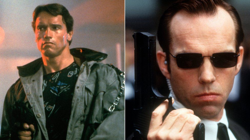 Arnold Schwarzenegger in The Terminator and Hugo Weaving as Agent Smith