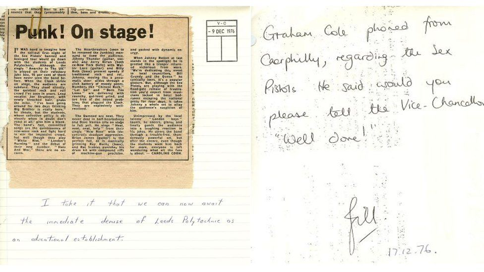 Newspaper cutting on Leeds Poly gig and handwritten note from UEA acrhive