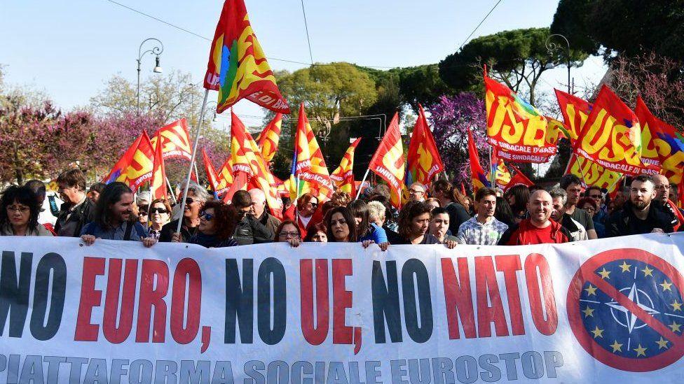 Anti-EU protesters in Rome, March 2017