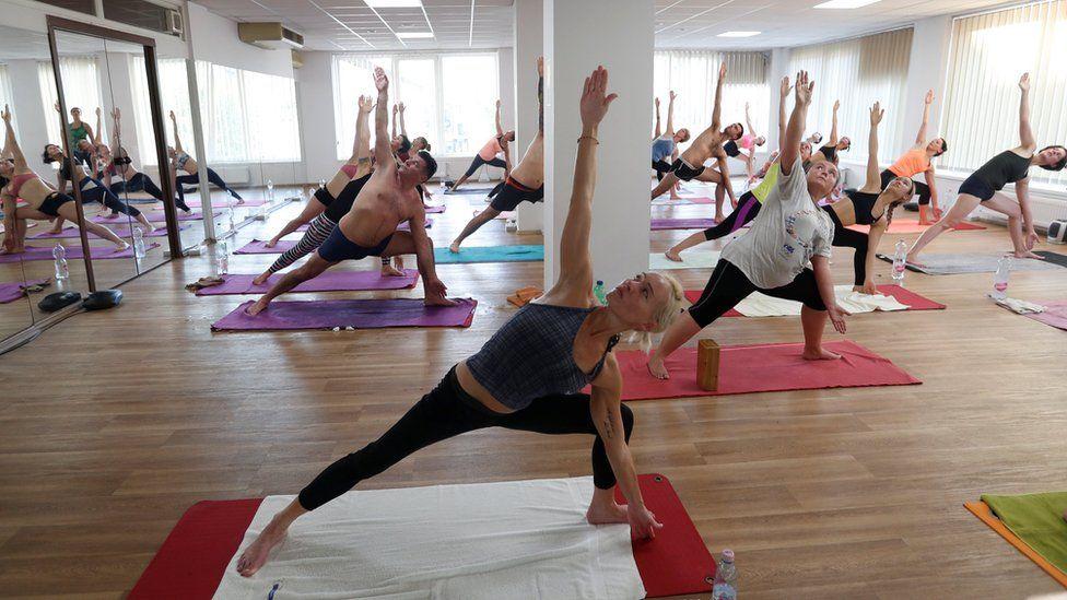 A hot yoga class