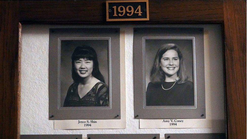 Amy Coney Barrett, a potential Supreme Court nominee, hang in the Hall of Fame of Rhodes College in Memphis, Tennessee,