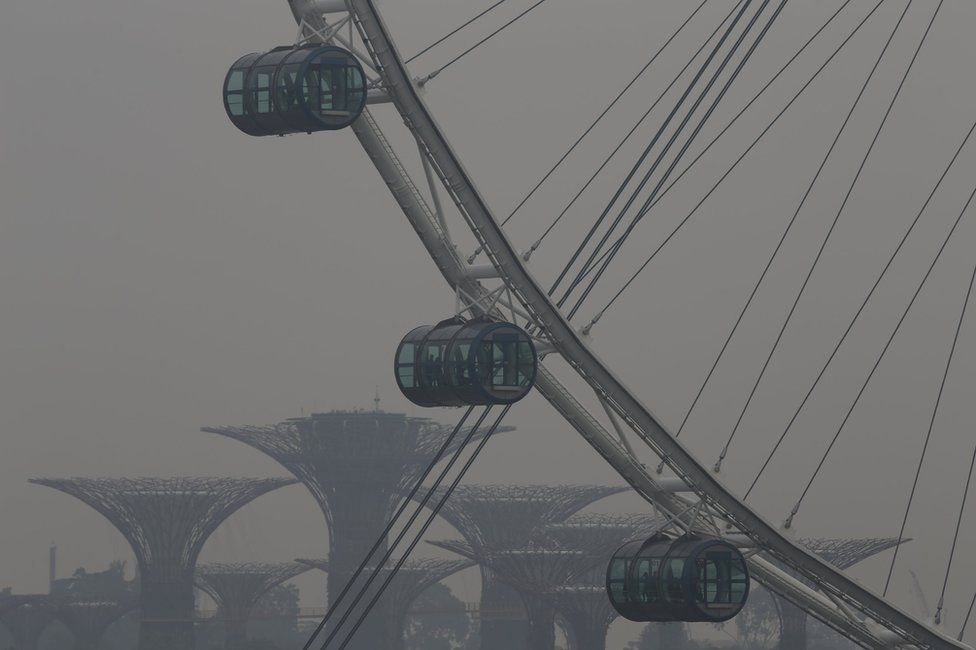 People look out from the Singapore Flyer Observation Wheel in the backdrop of the Gardens by the Bay shrouded by haze in Singapore 5 October 2015