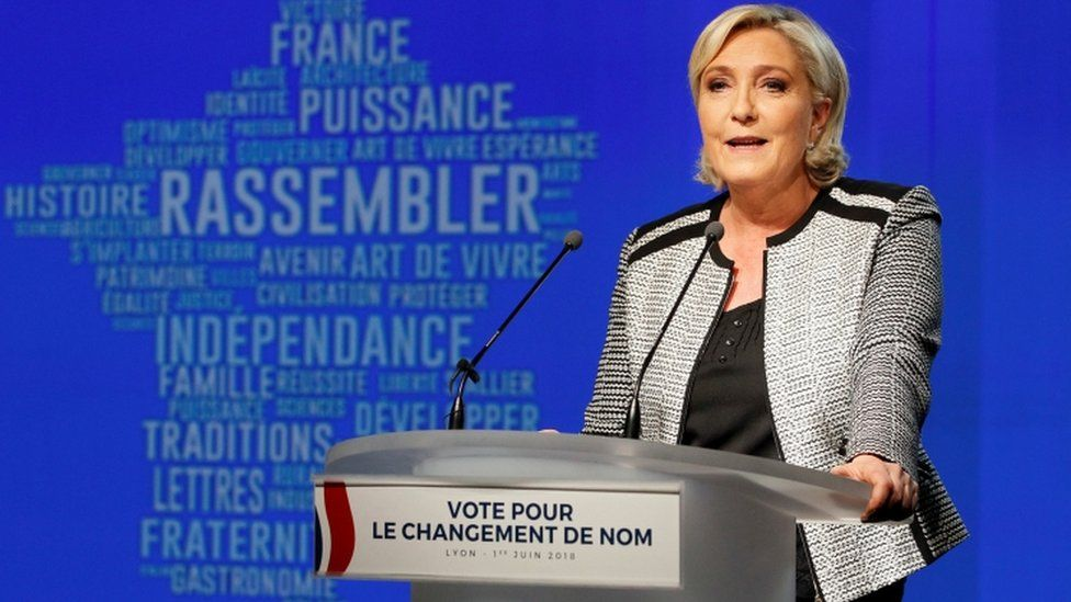 Marine Le Pen during a party event