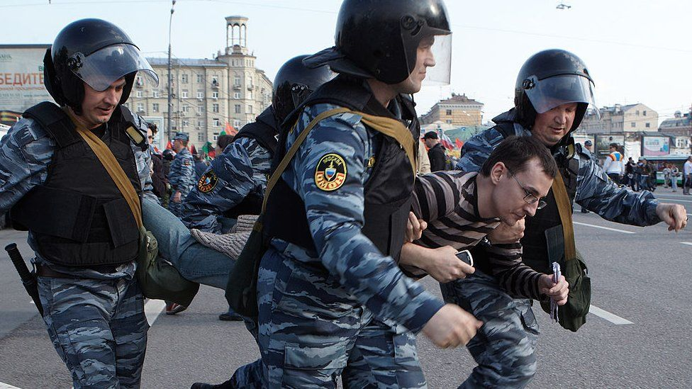 A protester is arrested in Moscow, Russia on May 6, 2012