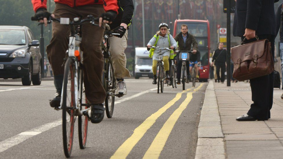 Cyclists on Waterloo Bridge