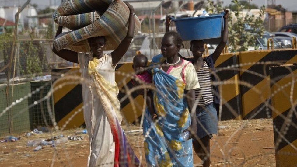 People going to a camp for displaced people in Juba