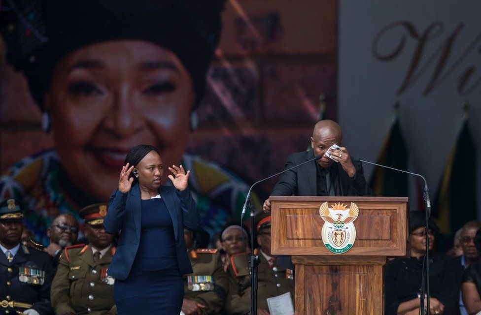 Firebrand opposition politician Julius Malema, leader of the Economic Freedom Fighters, reacts as he speaks during the funeral of anti-apartheid champion Winnie Madikizela-Mandela, at the Orlando Stadium in the township of Soweto, concluding 10 days of national mourning on April 14, 2018, in Johannesburg. South Africans turned out in their thousands to bid final goodbyes to anti-apartheid icon and Nelson Mandela's former wife who was laid to rest with full state honours. Winnie Mandela, who died in Johannesburg aged 81 on April 2 after a long illness, has been celebrated for helping keep Nelson Mandela's dream of a non-racial South Africa alive while he was behind bars for 27 years.