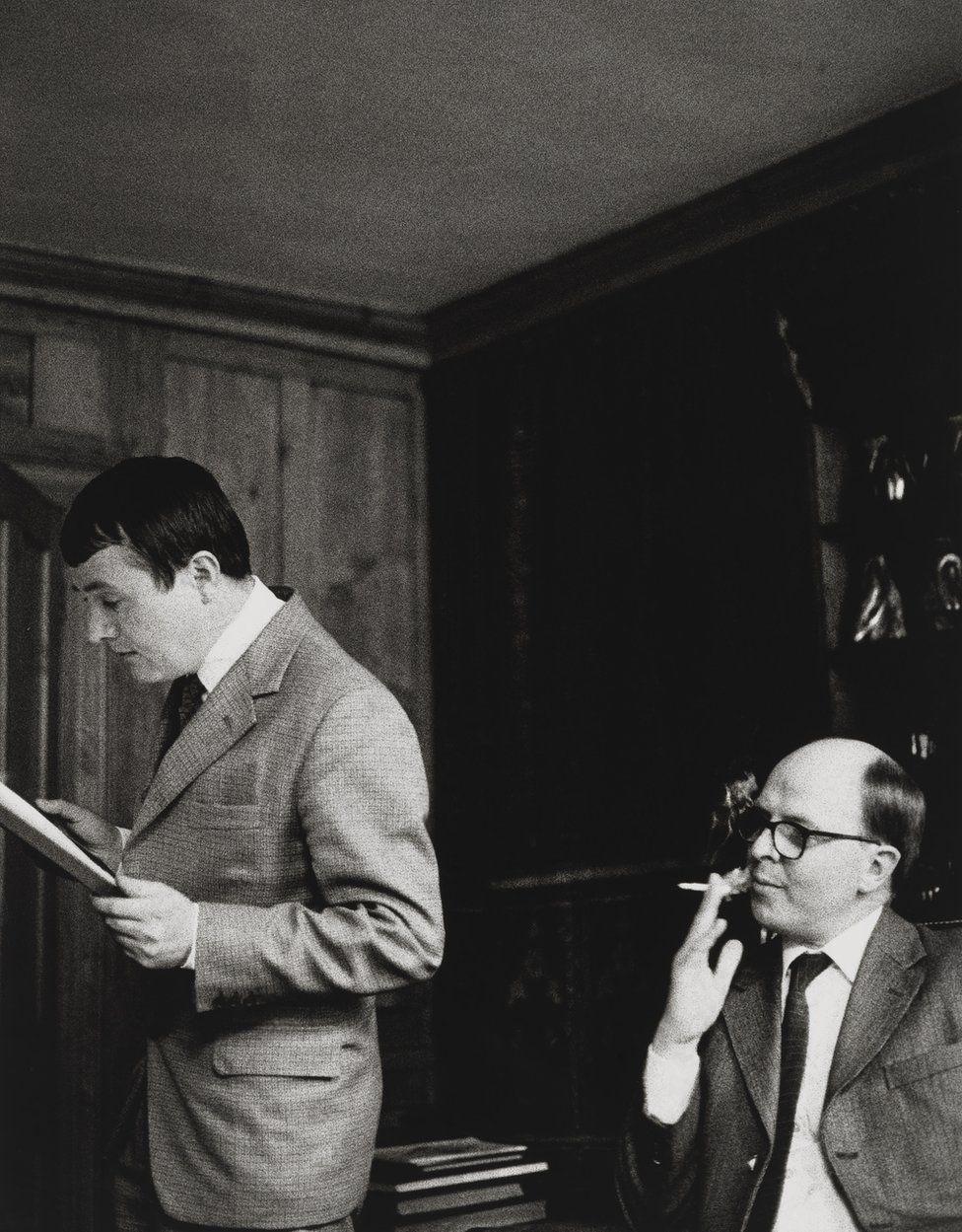 Gilbert & George sit in their London flat, c.1981–82