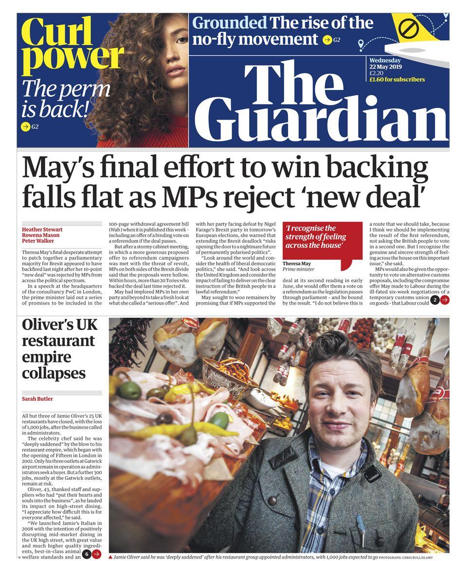 Newspaper headlines: May's final gamble and Jamie's 'kitchen nightmare'