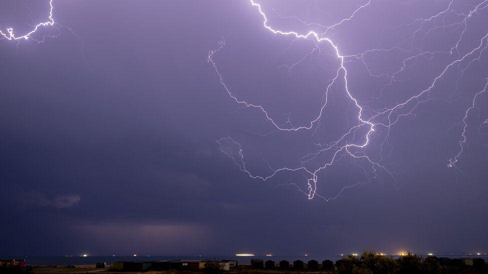 A lightning bolt captured over the Solent in Hampshire