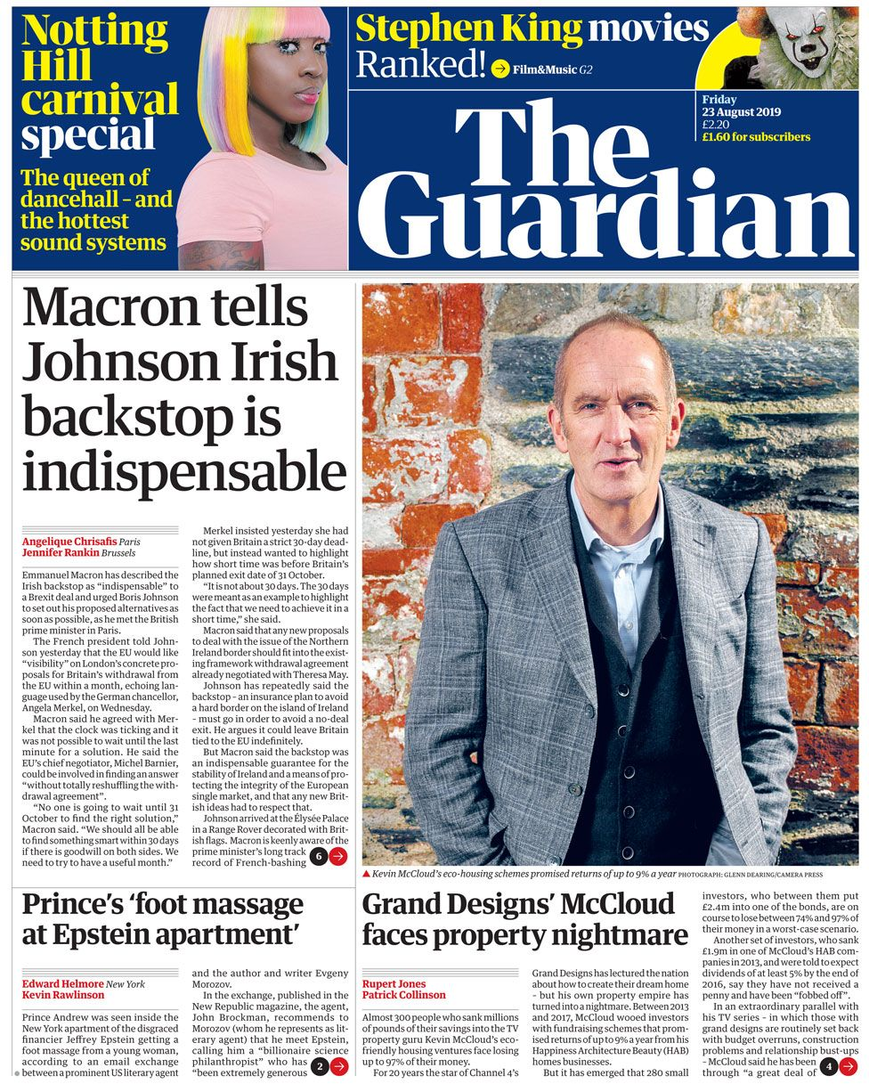 Newspaper headlines: Macron's French resistance and Royal budget flight