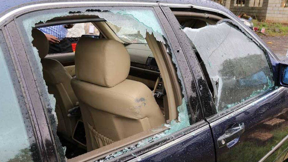 Jacob Juma's bullet-ridden car - pictured on Friday 6 May 2016 in Nairobi, Kenya